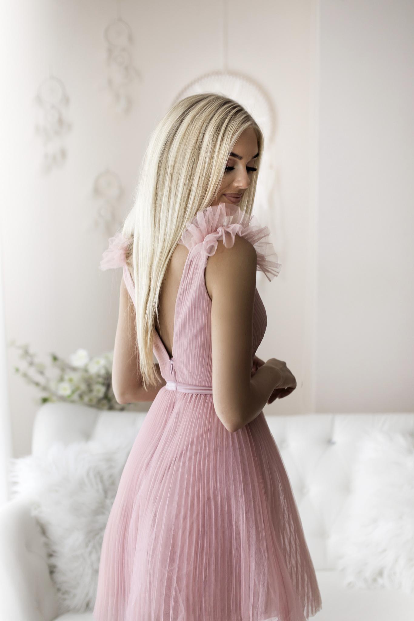 SENAT PLEATED  roosa kleit
