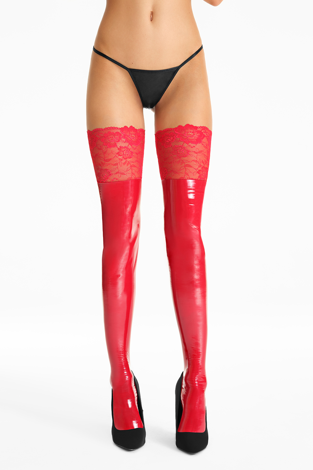 MIRROR STOCKINGS WITH LACE S54..