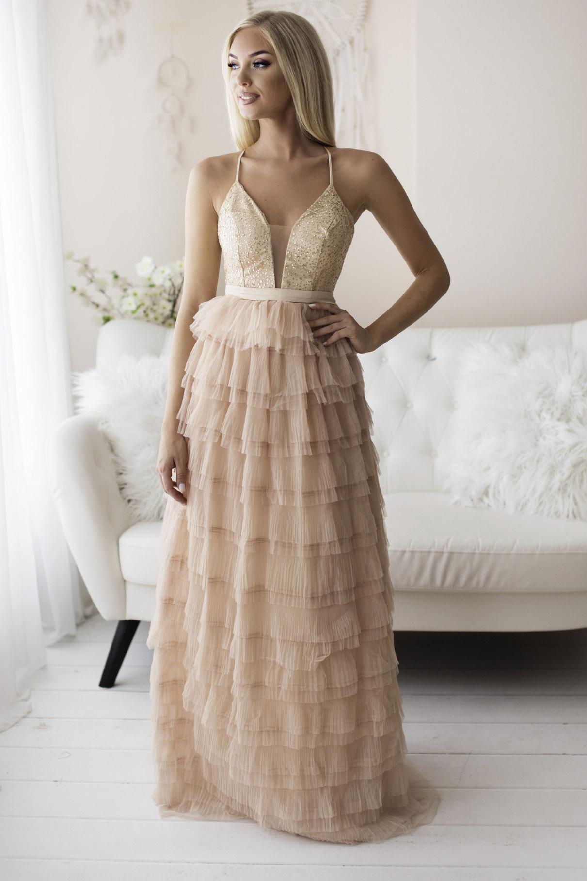 SENAT FLOUNCES kreemikas kleit