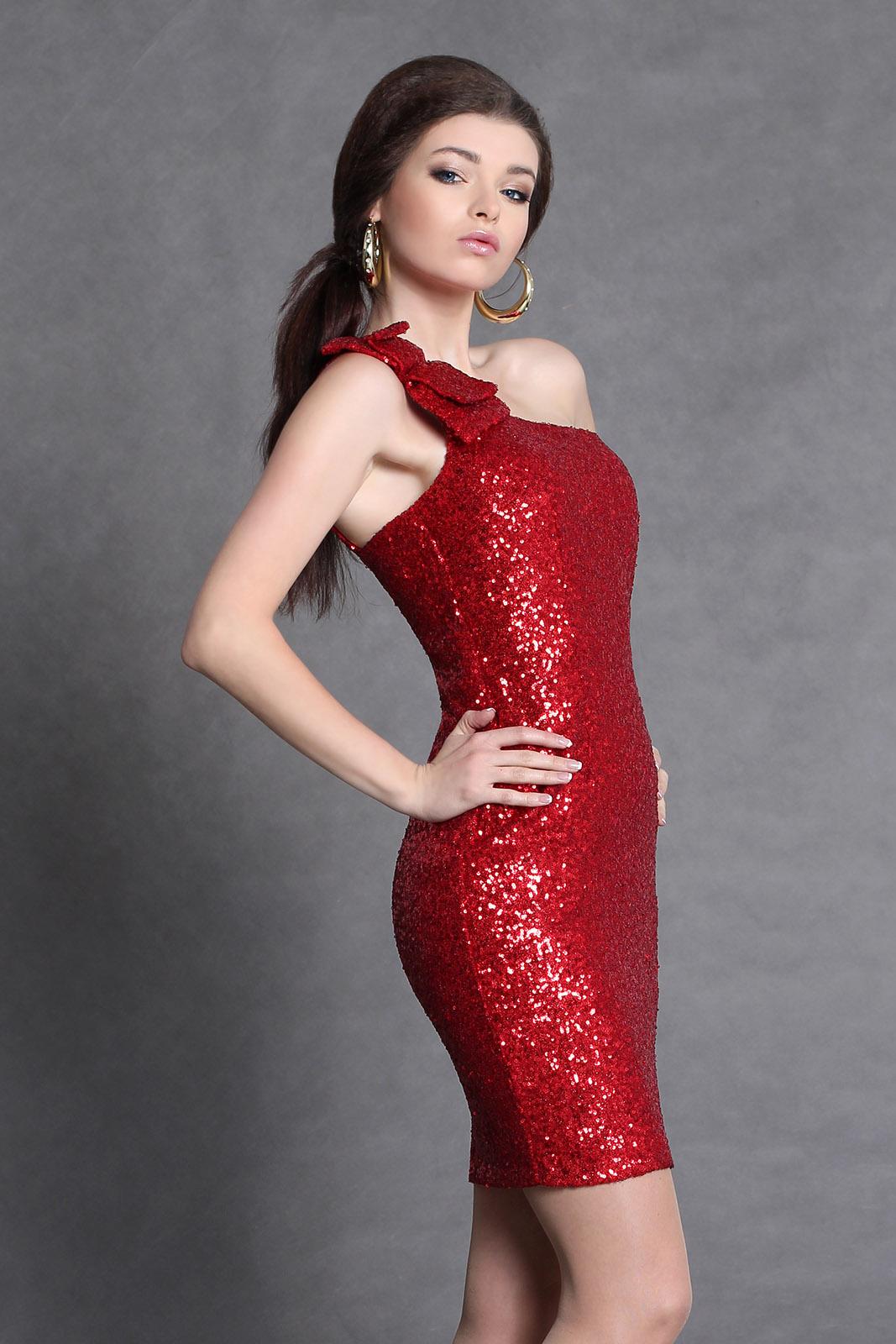 4002-2 sequined one shoulder dress - red