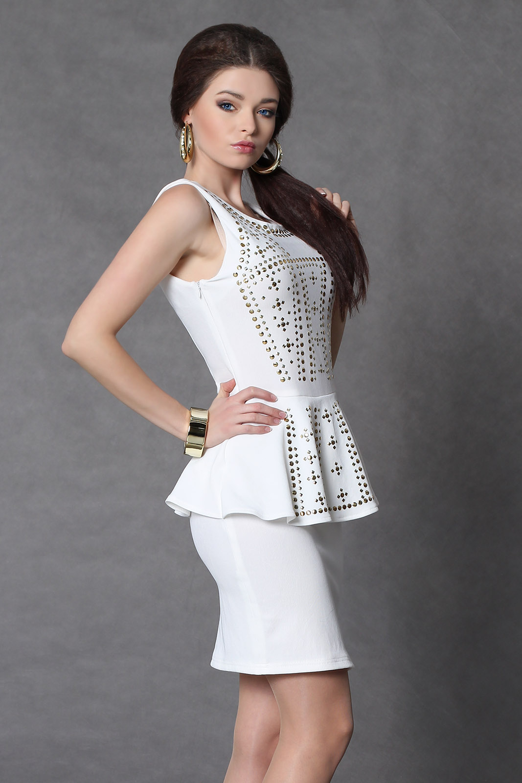 4009-3 vest dress with gold glitter - white