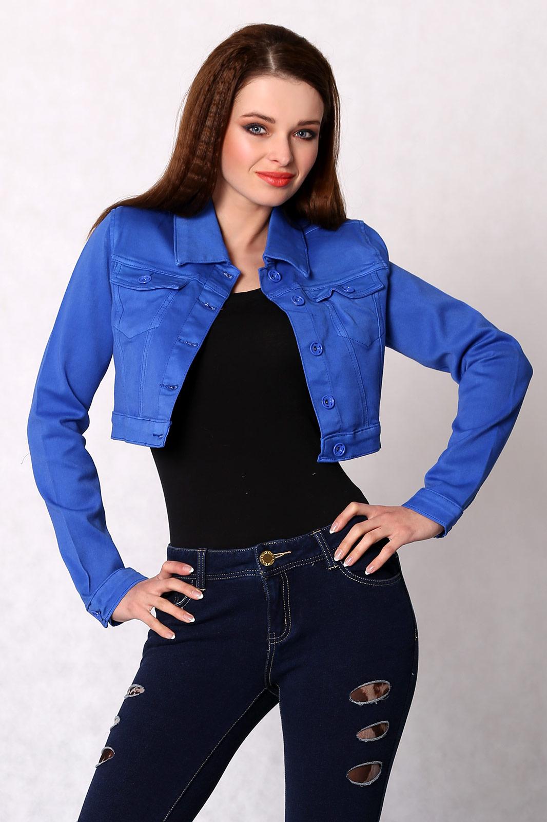 Sinine lühike teksajakk