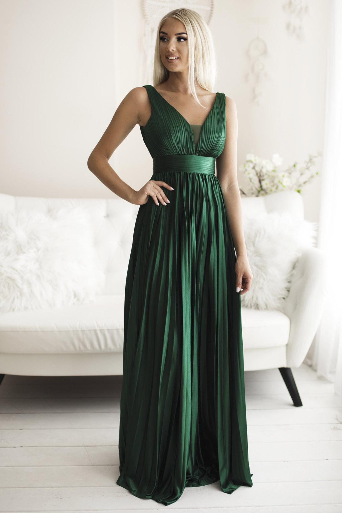 SENAT PLEATED  roheline kleit
