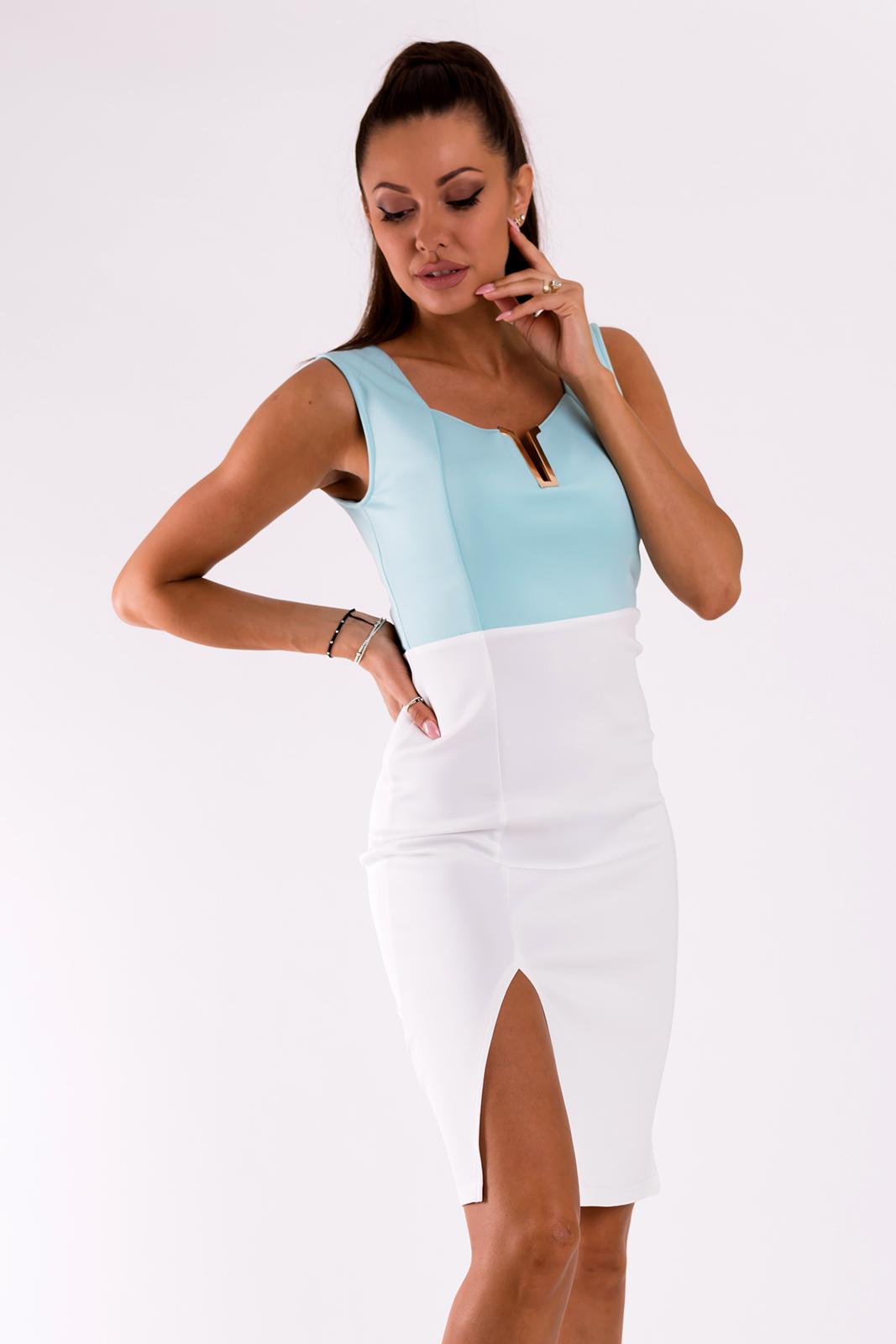 EMAMODA  kleit - valge / sinine