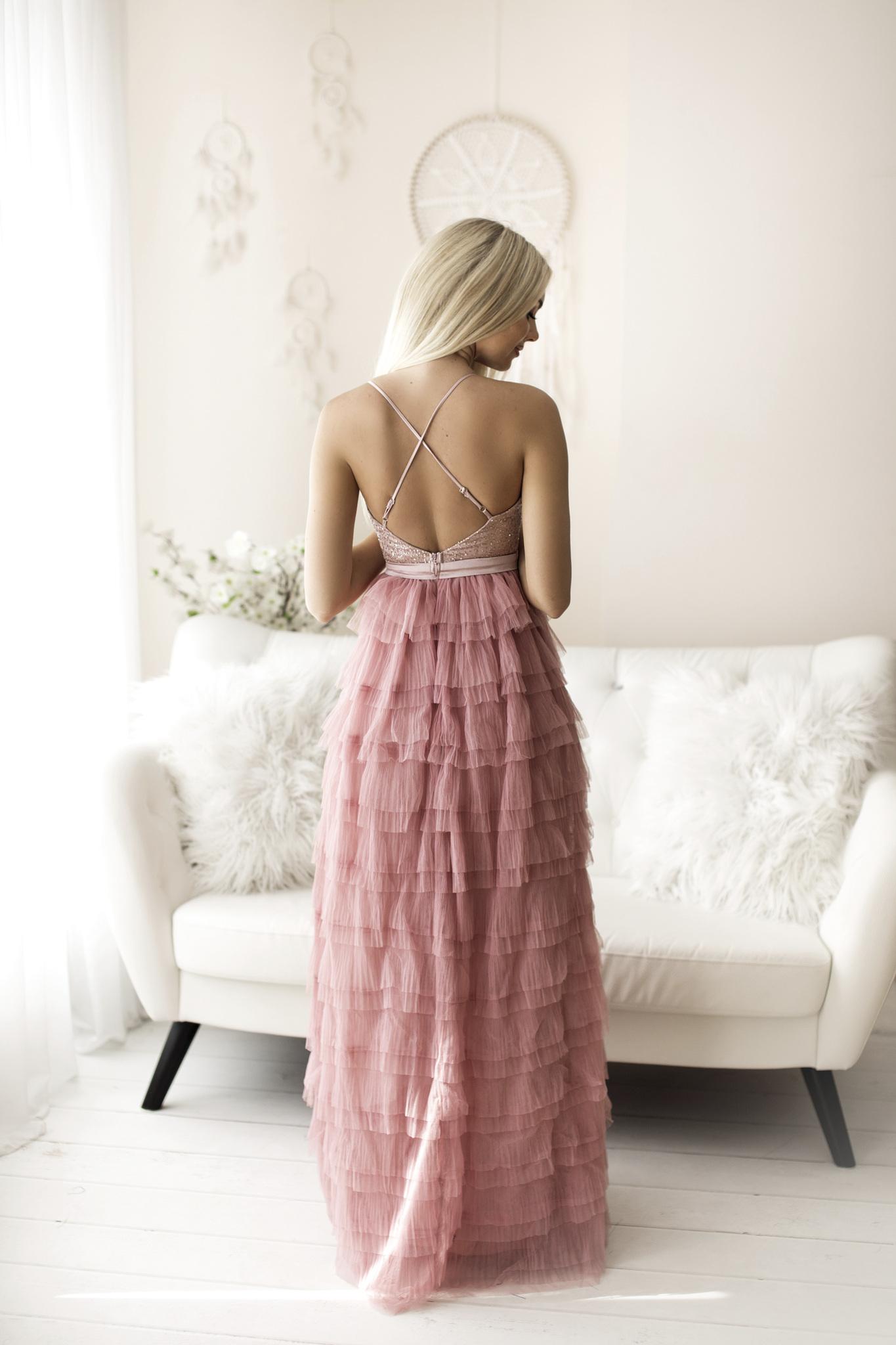 SENAT FLOUNCES roosa kleit